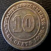 №29 монета Стрейтс Сетлментс 10 центов, 1926, серебро