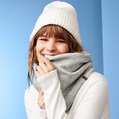 Зима, теплый !!! Двухсторонний, вязаный флисовый трубчатый шарф/снуд от Tchibo размер универсальный