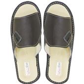 """Кожаные тапочки """"Summer"""" коричневые. 27,5 см"""