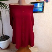 Блуза бордо з оголеними плечима