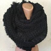 Шикарный нарядный черный мягенький теплый широкий шарф с шикарной вязкой 200/50 Новый Акция читайте