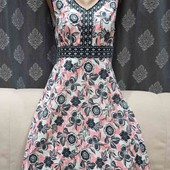 Льняное платье в цветочный принт, р.М