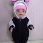 Комбинезон Панда ! Из мягкого флиса для куклы Беби борн ростом 43 см.Или подобных кукол .