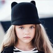 Шляпа с козырьком с ушками для девочки р.52- 54.