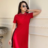 42 44 46 48 50 Спортивное платье Поло с лампасом красный беж черный до колен с коротким рукавом лето