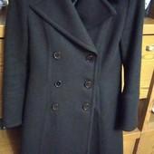 Стильное чёрное пальто, натуральная шерсть