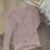 ажурная вязаная кофта розовая пудра размер ХС-С