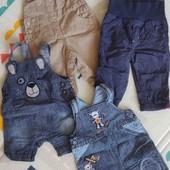 Лот джинсовых комбинезонов на 3 месяца