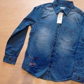 Рубашка джинс на мальчика 146см