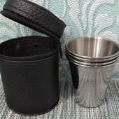 Набор стопок | Набор рюмок | Рюмки | Стопки| Набор 4 дорожных,жестяных стопок 75 грам в чёрном чехле
