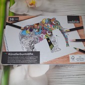 Lidl, Германия, большой набор карандашей, в металлической коробке 36 цвета