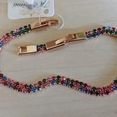 новинка! шикарный и изящный браслет, с разноцветными фианитами, р.18/20.5 см, позолота 585 пробы