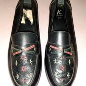 Кожаные туфли лоферы из натуральной кожи стелька 24,5 см