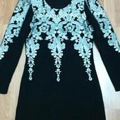 Шикарное жаккардовое платье s-m