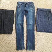 Джинсы и две хлопковые юбки, размерS, XS