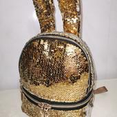 Рюкзак с ушками в блестящих пайетках