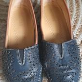 Кожаные туфли мокасины на широкую проблемную ногу