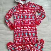 Слип пижама с новогодним рисунком 9-10лет замеры на фото