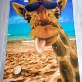 Жираф! Яркое Большое полотенце для пляжа, для душа, для бани и сауны! 75*150 см