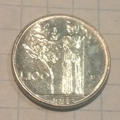 Монета Италии 100 лир 1992