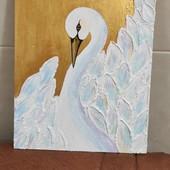 """Авторская картина """"Лебедь"""", скульптурная живопись"""