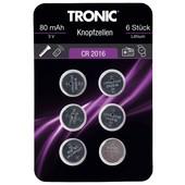 Батарейки CR 2016 в лоте 1 упаковка (6 шт батареек) Tronic