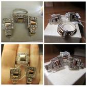 Только серьги! Шикарные серебряные серьги серебро 925пр.и золото 375 пр. Новые с биркой!