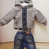 Курточка деми, еврозима +утепленные укороченные джинсы H&M (под сапоги) для мальчика, см. замеры