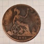 Монета Великобритании 1 пенни 1891