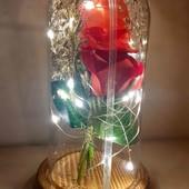 Роза в колбе цветочная композиция с подсветкой ночник сувенир высота 19.5 см