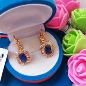 Всего одни!!!Шикарные серьги с синими кристаллами +фианиты позолота 585 пробы