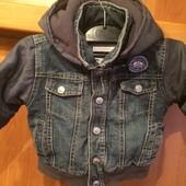 Куртка. внутри флис, размер 1 год 80 см, Prenatal. пиджак, джинсовый