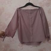 Красивая хлопковая блуза с открытыми плечами ! УП скидка 10%