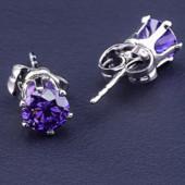 супер! очень красивые и нежные гвоздики, фиолетовые фианиты 6*6 мм, форма тюльпан, родий