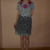 Летнее платье , 46,48 размер, Польша, трикотаж,в горошек, горох, удобно беременным, без талии прямое