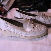 мягкие туфли кожаные мокасины 4,5р Германия стельки 23,7 см