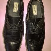 Чёрные мужские туфли оксфорды с перфорацией от Wrangler стелька 28.5 см.