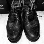 Чёрные классические мужские туфли оксфорды из натуральной кожи с перфорацией стелька 29 Shock Absorb