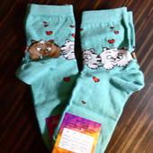 носочки с котиками и сердечками, 2 пары в лоте, р.36-40, цвет мятный
