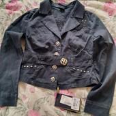 Пиджак чёрный тонкий коттон с вышивкой