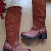 Mjus Високі чоботи із натуральної шкіри/нат.замші 37 рр і устілка 24,5 см. Мають утеплення.