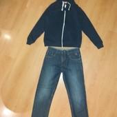 Отличное состояние! Плотные джинсы+толстовка!Супервещи на всю весну!11-12 л и р 146-152 см!