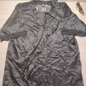 Германия!!! Атласный халатик, женский халат, украшен кружевом! 32/34 евро, полномерит, лучше на М!