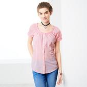 Блуза с коротким рукавом в мелкую клеточку, Tchibo(Германия), размеры наши: 44-46 (38 евро)