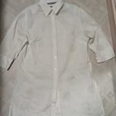 Рубашка-туника, с люрексом, ткань жатка, по бокам разрезы