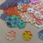 200шт!! Цветы перламутровые, пришивные большие диаметр 2.5см