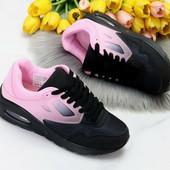 Яркие люксовые текстильные черные розовые омбре кроссовки