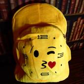 Яркий большой желтый рюкзак Смайл. Мягкий и легкий. Плюш