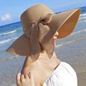 стильная шляпка с широкими полями с красивым бантом.цвет на выбор.