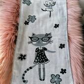 """Кухонное полотенце для посуды """"Кошки"""" 100% хлопок (дизайн под лен)"""